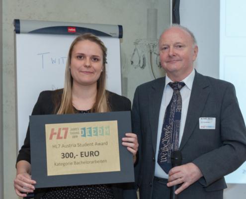 Student Award Preisträgerin Cornelia Lahnsteiner (FH Joanneum) und Laudator Bernd Blobel